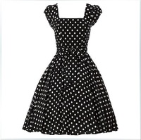 50s Vintage Dress Hepburn Style White Polka Dot Rockabilly Dress
