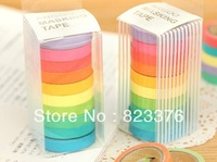 DHL Free shipping 400pcs New Ten color rainbow washi tape /candy color adhesive tape / DIY sticker label