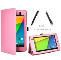 wholesale 1 pcs for new google nexus 7 2nd generation tablet leather case cover + stylus touch pen x 1