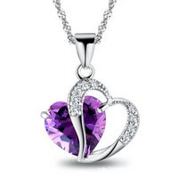 sales and free shipping 100% pure 925 sterling silver platinum Amethyst crystal heart pendant necklace wedding jewelry HN028