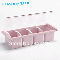 Camelias seasoning box plastic kitchen seasoning box multicellular seasoning box pink and white
