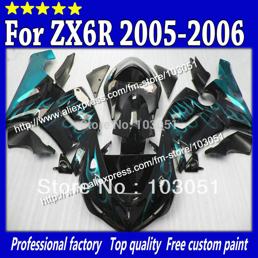Motocycle parts for kawasaki fairings kit 2005 ZX6R fairing 2006 ZX 6R 636 ZX-6R 05 06 water blue flame in glossy black Sv82(China (Mainland))