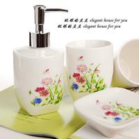H wedding gift bathroom set bathroom four piece set soap box soap box soap dispenser shukoubei toothbrush holder