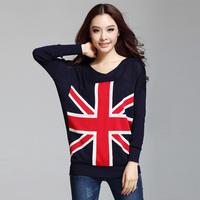 2013 autumn women's m word flag sweater female loose pullover medium-long sweater plus size female basic shirt