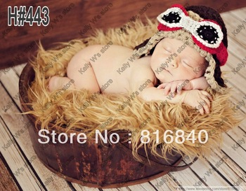 Free shipping New style pilot hat baby hat handmade crochet photography props newborn baby cap