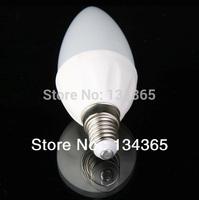 5pcs/lot 28 LED SMD3014 3W E14 LED candle bulb light 220V glass cover 300lm ceramic LED lighting cool white candle light