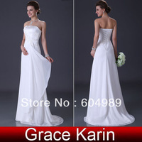 1pcs/lot Brand New Chiffon Strapless Grace Karin White Elegant Beach Wedding Dresses Bridal Gown CL3184