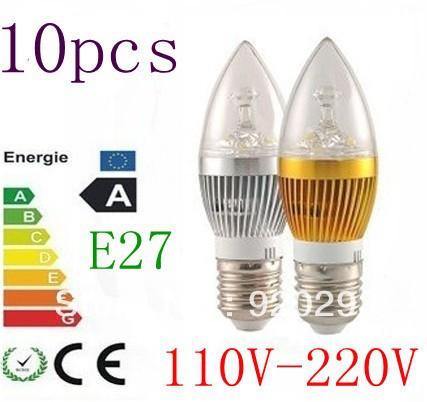 10pcs/lot Dimmable E27 E14 GU10 3X2W 6W 3X3W 9W LED Candle Light LED bulb lamp LED spot Light(China (Mainland))