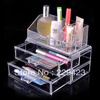 Free shipping!18.5x10x15.5cm acrylic makeup organizer 2 layers Drawers Storage Cube Box Makeup organizer Multifunction case