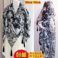 Free shipping European religion Skull angel and devil imitation silk tassel scarf female fashion big woman long scarves shawl