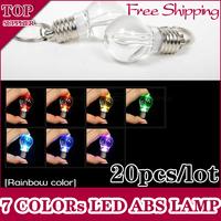 20pcs/lot MINI LED Flashlight Light Bulb Key Ring Keychain Lamp Torch 7 Colors Blinking ABS ACRYLIC Cover Free Shipping d23 New