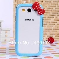 2pcs/lot Hello kitty 3D Cute Bow Plastic Hard Case Cover Bumper Frame for Sumsung i9300 Galaxy S3, Free shipping