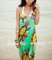bikini Cover up women christmas Cotton dress cover up Sunflower print chiffon bikini wrap beach dress wrap 1pcs drop shippin