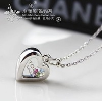 Accessories crystal perfume bottle heart key short necklace female