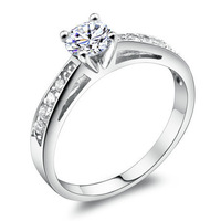 Bright compact luxury Swiss Diamond Ring Sterling Silver Rings Women's Valentine's Day Gifts