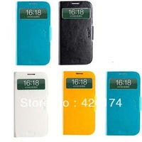 S-View Automatic Sleep/Wake Flip Cover 360 Degree Rotating With Stand leather case for Samsung galaxy s4 I9500