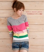 2013 autumn women's preppy style stripe slim long-sleeve sweater basic shirt thin sweater outerwear
