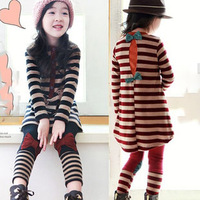 Free shipping 2013 children's autumn clothing female child stripe bow long-sleeve set back classic baby set