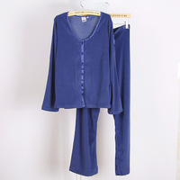 2013 female brief solid color velvet sleepwear lounge long-sleeve sleepwear trousers twinset