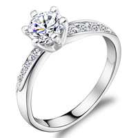 Strobe 0.6 ct wedding ring 925 sterling silver rings bright shining silver jewelry brand authentic woman