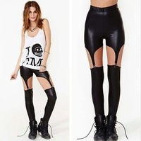 ddk-105 Hot fashion women leather garter clip splicing Leggings Leggings wholesale fashion sexy personality