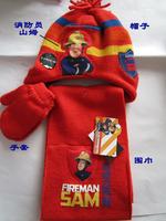 free shipping fireman sam hat + Scarf + Gloves Kids Knitting Wool