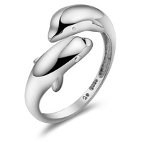 VIP exclusive offers MaoMao cute female S925 Silver Dolphin Ring lady rings symbol of wisdom