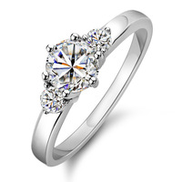 Advanced Simulation luxury diamond shining Ring Sterling Silver Ladies Ring Valentine birthday gift
