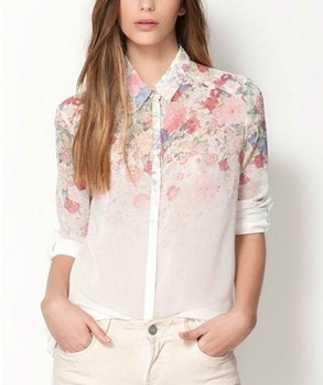 2014 spring and autumn women's sweet turn-down collar long-sleeve flower print chiffon shirt female hot selling blouse