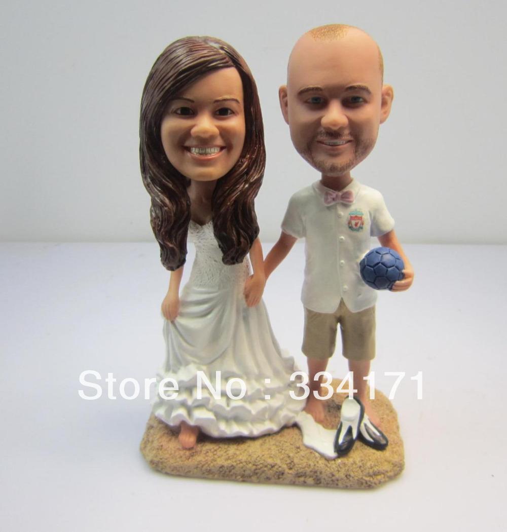 Personalizzati bambola bobblehead limitiamoci a andare al mare regalo di nozze nozze decorazione polyresin corpo fisso + polyresin testa