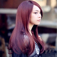 In stock Wig Wine red long straight hair curly hair long bangs wig pear flower long  free shipping