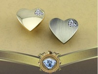5PCS/Lot K9 Diamond Hearts Crystal Chrome Cabinet Knob And Drawer Cupboard Handle R6023
