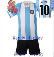 A+++ Top Kids Thai Argentina Messi Soccer Jersey 2013 Home Futebol Jersey Children Wear Boy Football Kits With Short Tracksuit