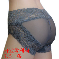Female panty plus size panties transparent gauze lace sexy seamless high waist briefs