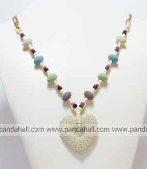 "Lava Jewelry Necklace,  with Cotton Wax Cord and Brass Lobster Clasp,  Colorful,  Size: about 37"" long"