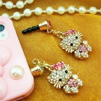 RQ13 Free Shipping! Cute hello kitty crystal Korean the dustproof plug iPhone dust plug B5