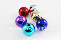 Free Shipping 30pcs/16mm Wholesale Random Mixed Color Christmas Acrylic Round Beads For Christmas Decoration Making,JB40-46#