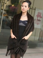 2013 genuine mink hair fur hand-knitted pashmina with tassels , lady winter shawl DHL/EMS  free shipping