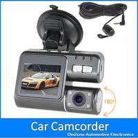3pcs/lot HD 720P 30fps h 264 Car DVR 2 camera video recorder cam with G-sensor GPS logger night vision motion detection