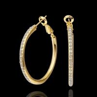 wholesale 18K Yellow Gold plated fashion jewelry Austria Crystal,rhinestone,CZ diamond,Nickle Free Circle Hoop earrings KE463