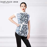 Summer women's 2013 turn-down collar chinese style vintage print medium-long shirt top