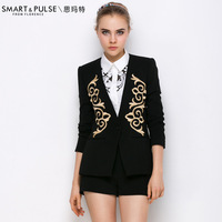 2013 spring and autumn women's ol long-sleeve embroidered slim collarless outerwear shorts set