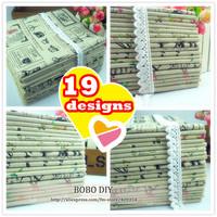 19pcs 25cm*25cm linen fabric bundle natural rough zakka design floral/newspaper text patterns mixed free shipping B20138301