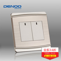 Switch double control switch power switch panel champagne color wall switch