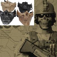 M03 Cacique Skull gen 3 Half face   War Game Mask army of two halloween mask Skeleton Black Silver-black Khaki