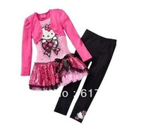 Free shipping 2013 new design girls hello kitty dress+pants set cartoon kids clothing suit KT long sleeve dress set  5set/lot