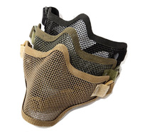 Brand Half face Metal net mesh protect mask For Military   Survival Wargame Movie Prop Hunting Black SAND Green