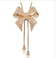 Fashion Austria Crystal  butterfly knot Tassel  pendant Necklace  wholesale