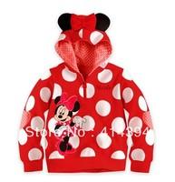 1pcs New Brand Multi Red Polka Dots Cute Cartoon Minnie Mouse Long Sleeves Hooded Hoodies Childred Kids Girl Hoodies Sweatshirts