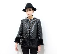 2013 female wrist-length sleeve faux dimond plaid leather clothing leather stitch wadded jacket cotton-padded overcoat
